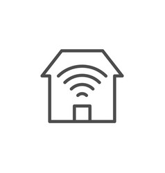home wi-fi line outline icon vector image