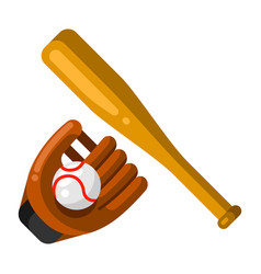 Icon baseball glove ball and bat in flat style vector
