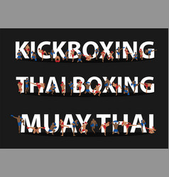 kickboxing thai boxing muay thai action on flat vector image