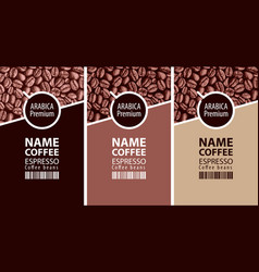 Labels for coffee beans with cup and barcode vector