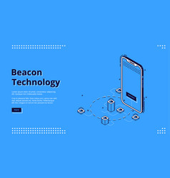 Landing page beacon technology with smartphone vector