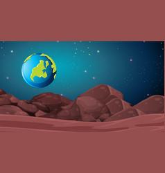 Mars landscape earth scene vector