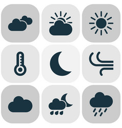 Meteorology icons set collection of douche moon vector