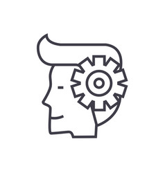 Mind processman with gears line icon sign vector