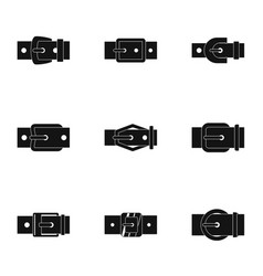 Modern belt buckle icon set simple style vector
