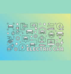 Modern electric car horizontal vector