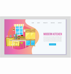 modern kitchen with furniture cartoon web vector image