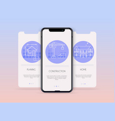 Onboarding screens user interface kit for mobile vector
