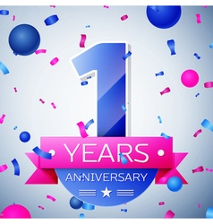 One years anniversary celebration on grey vector