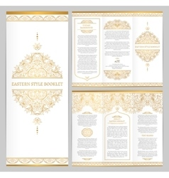 Ornate vintage booklet with line art floral decor vector