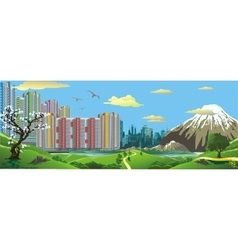 Panorama Landscape - the view from the hill at vector image