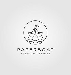 Paper boat line art minimalist logo symbol design vector