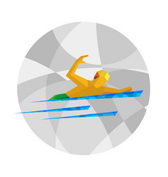 Physically disabled swimmer flat sport icon vector