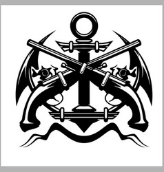 Pirate emblem - anchor and pistol vector