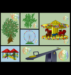 Playground and park set vector