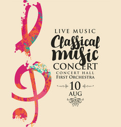 Poster concert classical music with treble clef vector