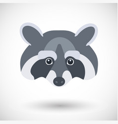 raccoon head flat icon vector image