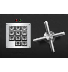 realistic safe lock metal element on textured vector image