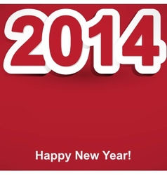 red and white Happy New Year 2014 vector image