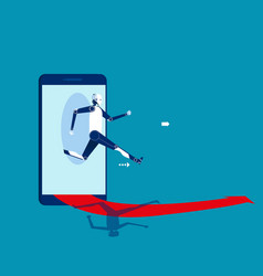Robot jumping out smart phone concept vector