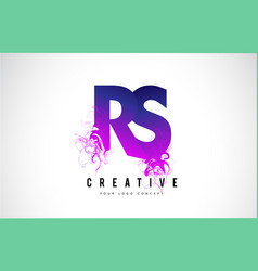 Rs r s purple letter logo design with liquid vector