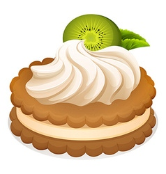 Sandwich cookie with cream and kiwi vector