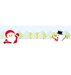 Santa claus and snowman on snow with snowy vector