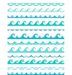 sea wave borders seamless ocean storm waves wavy vector image