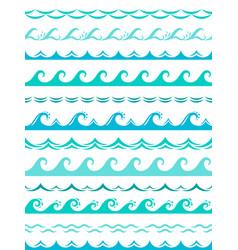 sea wave borders seamless ocean storm waves wavy vector image