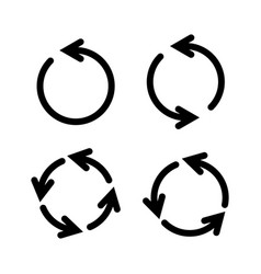 set black circle arrows icons vector image
