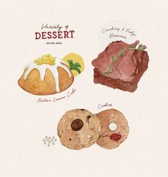 Set dessert hand draw sketch watercolor vector