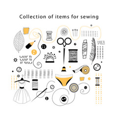 set elements for sewing vector image