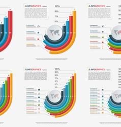 set growing bar chart templates 3 8 options vector image