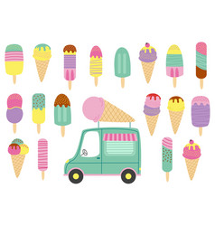 Set of isolated ice cream and truck vector