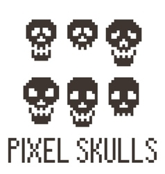 Set of six pixel skulls vector