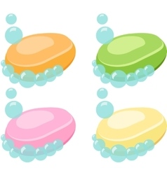 Set of Soap Bar With Bubbles vector image