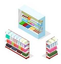 Shop Shelves Set Isometric View vector
