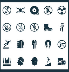 Sign icons set with do not enter slippery repair vector