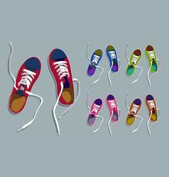sneakers drawing set vector image
