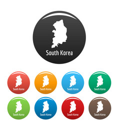 South korea map in black set simple vector
