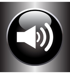 Speaker volume icon on black glass button vector image