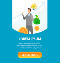Start up financing service landing page template vector