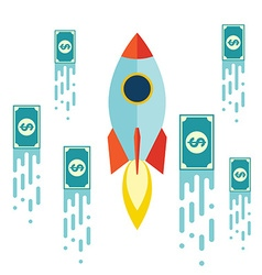 Starup Rocket with Money Flat design vector image