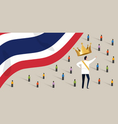 Thailand king monarch with crowd people protesting vector