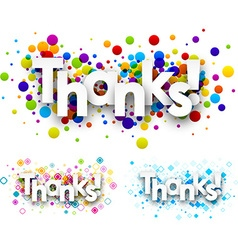 Thanks colour banners vector image