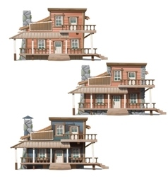 Three wooden houses in Wild West style vector image