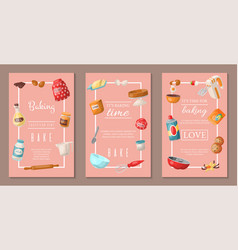 time for baking set of banners baking ingredients vector image