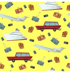Traveling Seamless Pattern with Car Ship and Plane vector image
