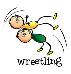 Two men wrestling vector