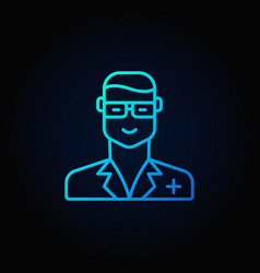 Veterinarian doctor blue icon vector